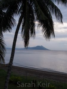 View from our hotel room towards the volcano Tavurvur