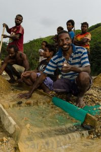 Gold panning outside Bulolo