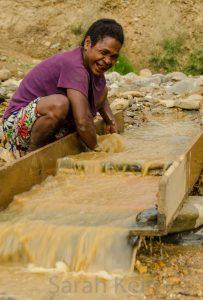 Gold panning outside Bulolo